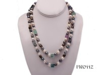 9-10mm white pink lavender and black round freshwater pearl opera necklace