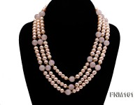 3 Strands Pink Round Freshwater Pearl with Rose Quartz Necklace