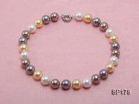 14mm multicolor round seashell pearl necklace