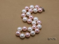 16mm white & pink round seashell pearl necklace