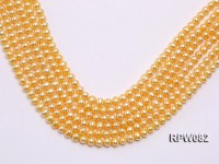 Wholesale 7mm Golden Round Freshwater Pearl String