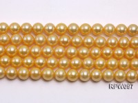 Wholesale 9.5-10.5mm Golden Round Freshwater Pearl String