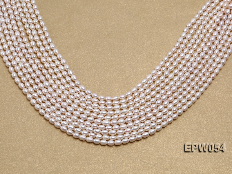 Wholesale 4.5×6.5mm Classic White Rice-shaped Freshwater Pearl String