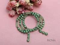 3 strand green freshwater pearl and jade bracelet