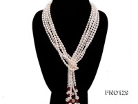 5-6mm natural white rice freshwater pearl with red agate necklace