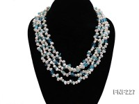 Four-strand 6mm White Freshwater Pearl Necklace with Blue Crystal Chips