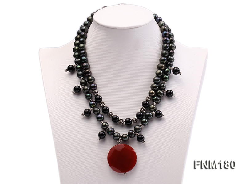 double-strand black freshwater pearl necklace with agate pendant