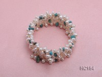 5 strand white freshwater pearl and turquoise bracelet