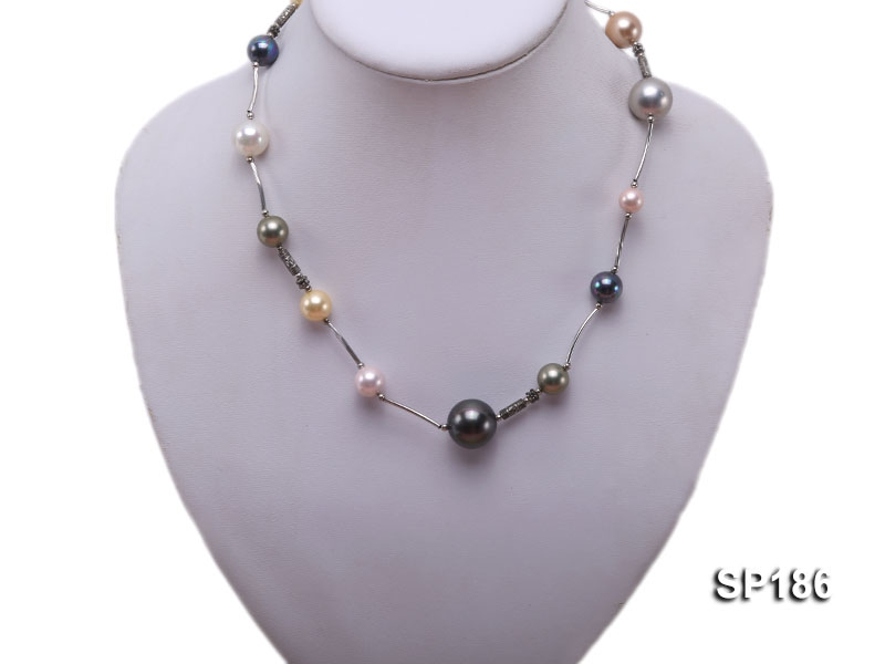 8-16mm colorful round seashell pearl station necklace