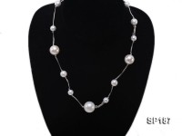 8-16mm white round seashell pearl station necklace