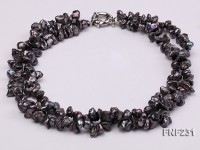17 Inches Three-strand Black Freshwater Keshi Pearl Necklace