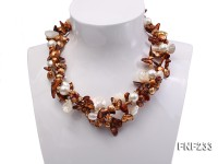Three-strand Coffee Baroque Freshwater Pearl Necklace with White Shell Pearls and Rhinestone