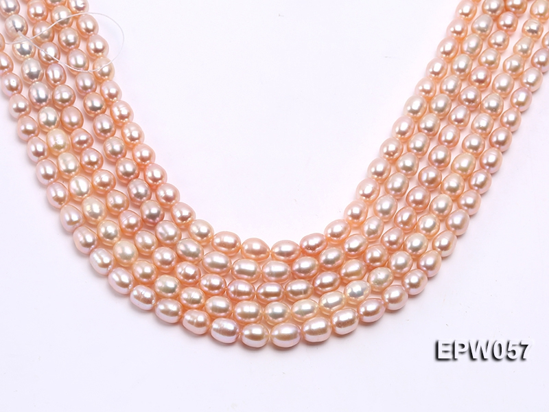 Wholesale 8×10.5mm Pink & Lavender Rice-shaped Freshwater Pearl String