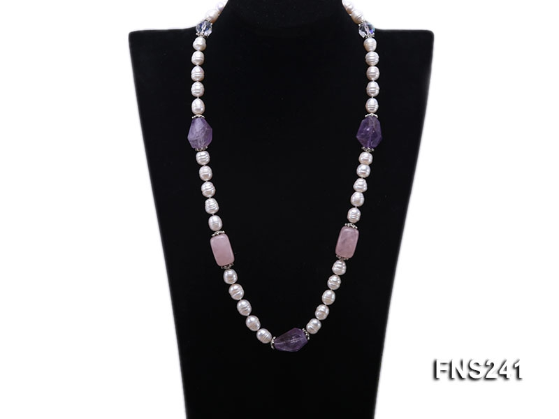 9-10mm natural white rice freshwater pearl with natural amethyst and rouse quartz single necklace