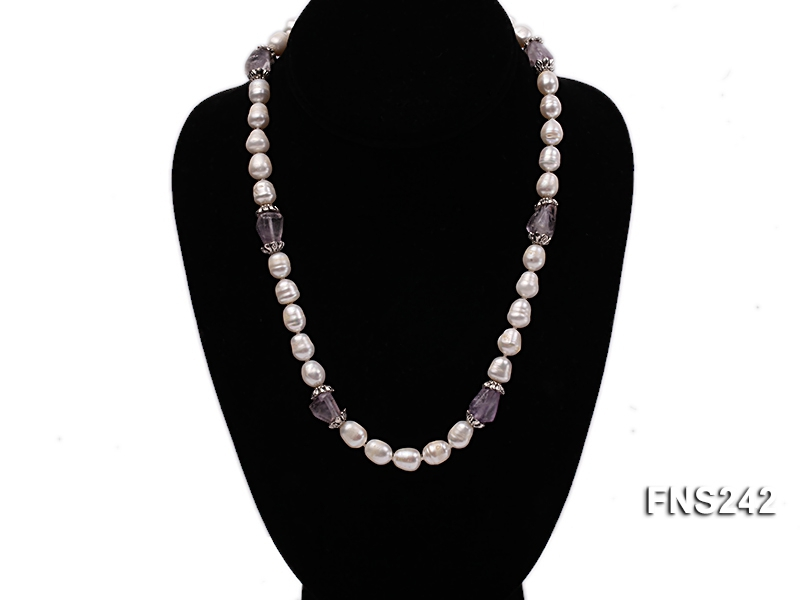 9-10mm natural white rice freshwater pearl with natural amethyst single strand necklace