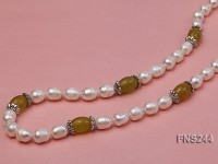 9-10mm natural white rice freshwater pearl with lemon jade beads single strand necklace