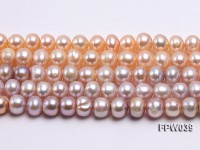 Wholesale 9×10.5mm Pink/Lavender Flat Cultured Freshwater Pearl String