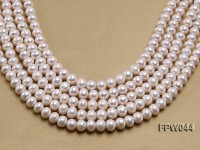 Wholesale 9.5×11.5mm High-quality White Flat Cultured Freshwater Pearl String