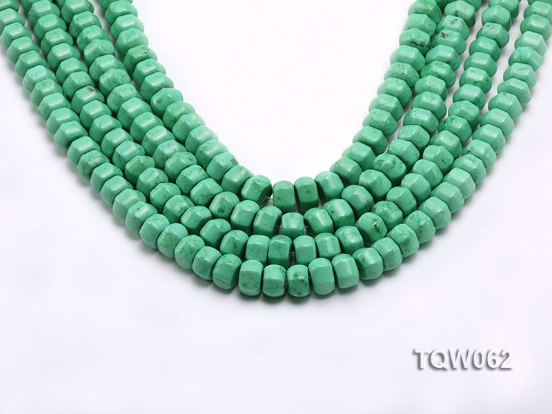 Wholesale 6.5×9.5mm Wheel-shaped Green Turquoise Beads String