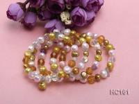 5 strand colorful freshwater pearl and crystal bracelet