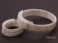 Four-row 5mm White Freshwater Pearl Choker Necklace and Bracelet Set
