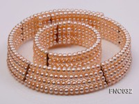 Four-row 5mm Pink Freshwater Pearl Choker Necklace and Bracelet Set