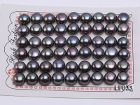 Wholesale Cards of 10-10.5mm Black Flat Freshwater Pearls—27 Pairs