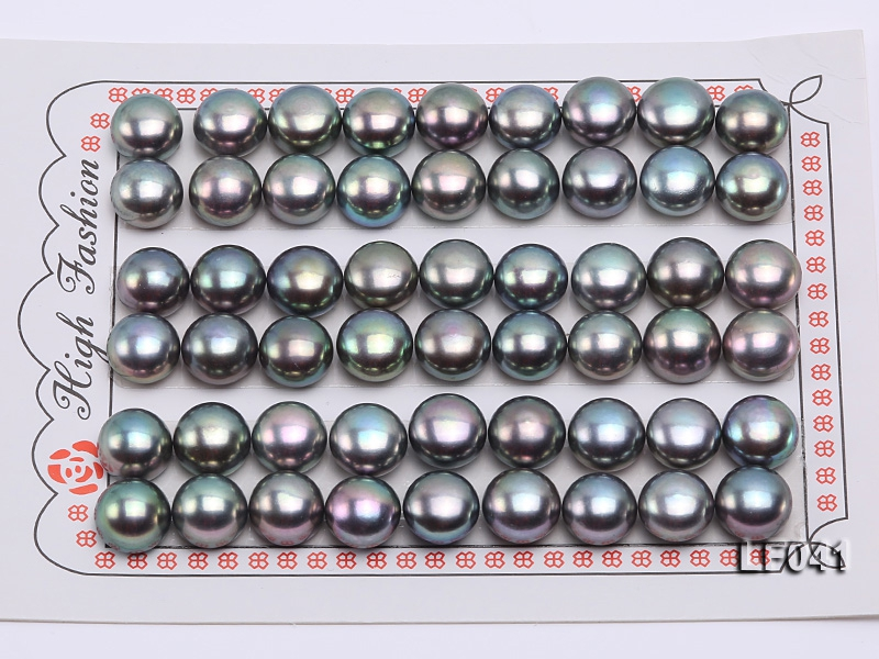 Wholesale Cards of AA-grade 9-9.5mm Black Flat Freshwater Pearls—27 Pairs
