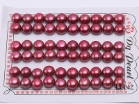 Wholesale Cards of 9-9.5mm Red Flat Freshwater Pearls—30 Pairs