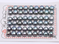 Wholesale Cards of 9.5-10mm Black Flat Freshwater Pearls—27 Pairs