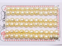 Wholesale Cards of 8-8.5mm Light Yellow Flat Pearls—33 Pairs
