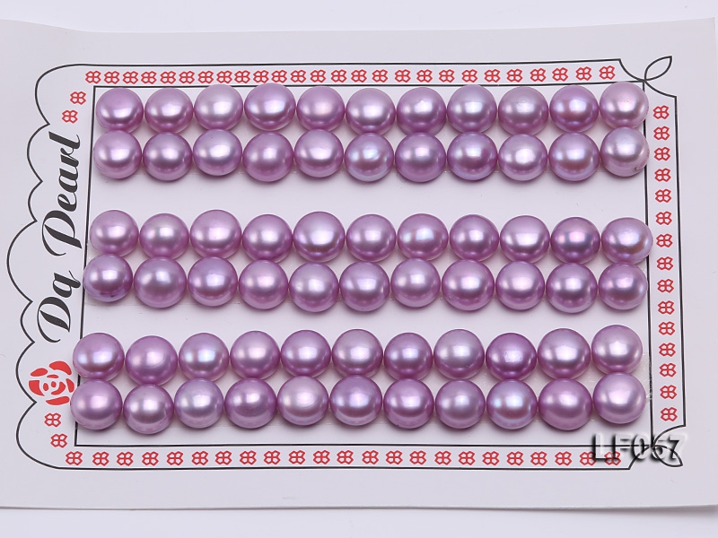 Wholesale Cards of 10-10.5mm Pink Flat Pearls—33 Pairs