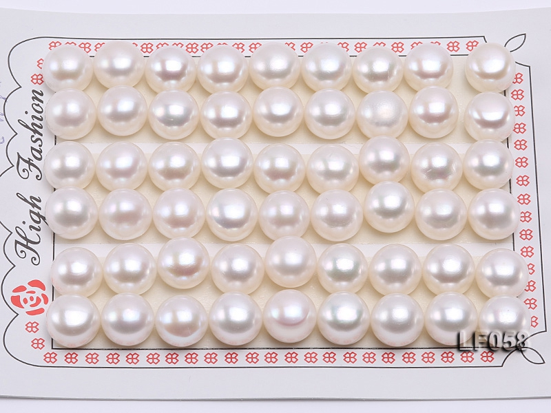 Wholesale Cards of 10-10.5mm Classic White Flat Freshwater Pearls—27 Pairs