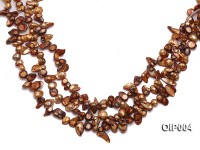 Wholesale & Retail 9X11mm Coffee Irregularly-shaped Pearl String