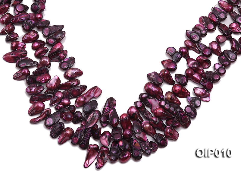 Wholesale & Retail 12x25mm Dark Purple Irregularly-shaped Pearl String