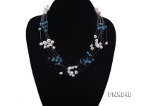 6-7mm Cultured Freshwater Pearl & Blue Turquoise Chips Necklace