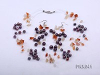 6-7mm Cultured Freshwater Pearl & Orange Agate Chips Necklace and Earrings Set