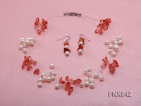 6-7mm Cultured Freshwater Pearl & Red Agate Chips Necklace and Earrings Set