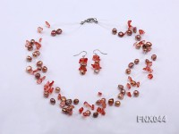 6-7mm Cultured Freshwater Pearl & Smoky Quartz Chips Necklace and Earrings Set