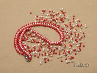 3-4mm White Cultured Freshwater Pearl & 3mm Red Coral Beads Galaxy Necklace