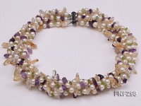 Five-strand White Freshwater Pearl Necklace with Olivine Chips, Purple and Yellow Crystal Chips