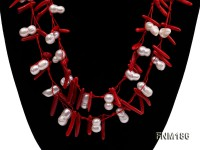 2 strand white freshwater pearl and red coral necklace