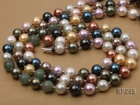 12mm luxurious seashell pearl and green jade three-strand necklace