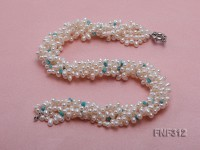 Five-strand White Freshwater Pearl Necklace Dotted with Baroque Turquoise Chips