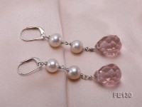 7.5mm White Freshwater Pearl & Lavender Drop-shaped Crystal Earrings