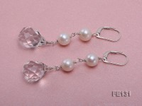 7.5mm White Freshwater Pearl & White Drop-shaped Crystal Earrings