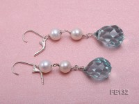 7.5mm White Freshwater Pearl & Blue Drop-shaped Crystal Earrings