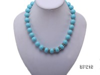 14mm turquoise-blue round shell necklace
