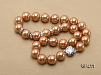 Stunning 14mm coffee round seashell pearl necklace