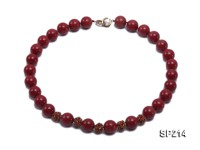 14mm red round seashell pearl necklace with shiny zircon